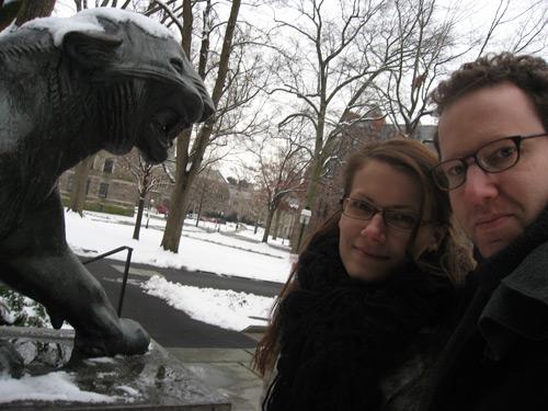 Dan and Sarah with a Princeton Lion